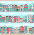 cartoon seamless street with old apartment vector image vector image