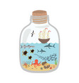 cartoon underwater world in a bottle fish sharks vector image
