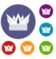 cog crown icons set vector image vector image