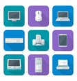 colored computer gadgets icons flat vector image