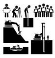 construction civil engineering earthworks worker vector image vector image