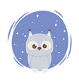 cute cartoon animal adorable wild character owl vector image