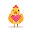 cute cartoon chicken standing and holding pink vector image vector image