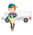 Delivery courier holding bouquet of flowers vector image vector image