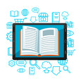 digital library concept tablet with open book e vector image vector image