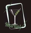 dry martini cocktail vector image vector image