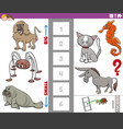 educational game with big and small animals vector image vector image