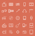 Entertainment line icons on orange background vector image vector image