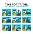 flat travel icons with character photographer vector image vector image