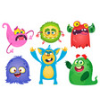 funny cartoon monsters set halloween vector image vector image