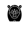 funny rhino black icon sign on isolated vector image
