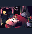 girl reading a book in the bedroom vector image