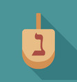 hanukkah holiday dreidel flat long shadow design vector image