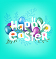 happy easter greeting card with comic style vector image vector image