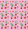 hearts pattern with cactus plant vector image vector image