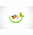 house green leaf environment logo vector image vector image