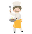 male chef cooking with pan and spatula vector image