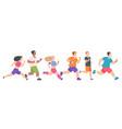 men and women running cartoon people jogging vector image