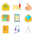 office supplies icons set cartoon style vector image vector image