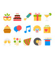 Party holiday birthday flat icons set