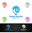 pin real estate and fix home repair services logo vector image vector image