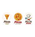 pizza pizzeria logo or icon labels for menu vector image vector image