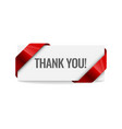 realistic red paper ribbon thank you curved paper vector image