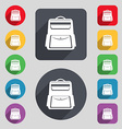 School Backpack icon sign A set of 12 colored vector image vector image
