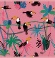 seamless pattern with toucan birds in the jungle vector image vector image