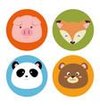 set animals heads icon vector image