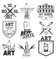 set art studio labels in vintage style vector image