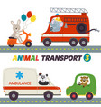 set of isolated transports with animals part 3 vector image vector image