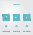 set of summer icons flat style symbols with sand vector image