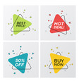 set of triangle flat sale tags with particle blast vector image vector image