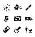 set pregnancy icons with - egg and sperm pills vector image vector image