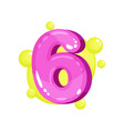 six pink glossy bright number kids font vector image