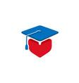 square academic cap heart student design logo vector image