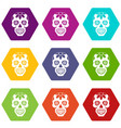 sugar skull flowers on the skull icon set color vector image