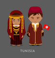 tunisians in national dress with a flag vector image vector image