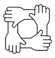 united teamwork hands icon vector image vector image