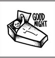 vampire in a coffin wishes good night vector image vector image