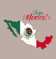 viva mexico poster with mexico map and flag vector image vector image