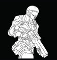 white contour drawing of a military man in a vector image vector image