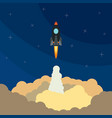 with flying rocket vector image vector image