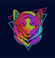 wolf head colorful vector image