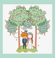 woman and man wedding with party flags vector image vector image