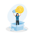 woman standing in box with light bulb concept vector image vector image