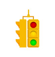 yellow double traffic lights isolated on white vector image vector image