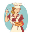young woman with retro clothes cooking soup on vector image vector image