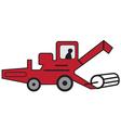 Cartoon red combine harvester vector image